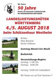 Zeitplan zum LG-Hüten am 04./05. August 2018