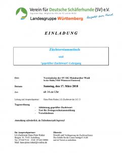 Züchterstammtisch und Zuchtwartlizenz bei der OG Mainharter Wald am 17.03.2018