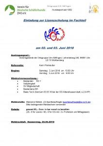 Schulung Rally-Obedience-Lizenz Teil B am 02./03.06.2018 bei der OG Söflingen