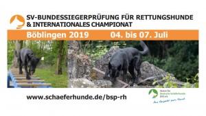 Bundessiegerprüfung RH und Internationales Championat am 04. bis 07.07.2019 bei der OG Böblingen