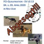 Abgesagt!!! LG-FCI-Qualifikation - OG Ulm/Neu-Ulm am 04.-05.04.2020