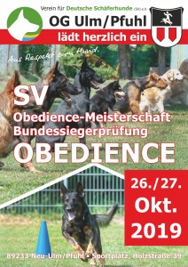 SV-Obediencemeisterschaft und Bundessiegerprüfung Obedience 2019 am kommenden Wochenende in der LG-Württemberg