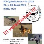 Verschoben!!! LG-FCI-Qualifikation - OG Ulm/Neu-Ulm am 27.-28.03.2021