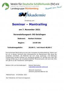 Seminar-Mantrailing bei der OG Geislingen am 07. November 2021